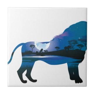 Afrikanische Nacht mit Löwe 2 Keramikfliese