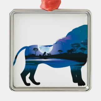 Afrikanische Nacht mit Löwe 2 Silbernes Ornament