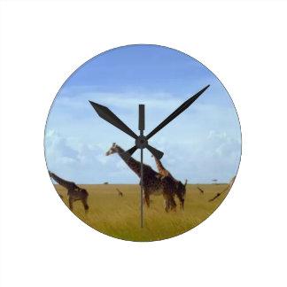 Afrikanische Safari-Giraffen Runde Wanduhr