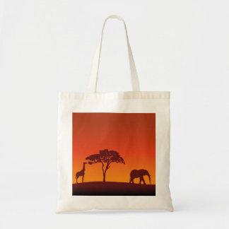 Afrikanische Safari-Silhouette - Budget-Tasche Tragetasche