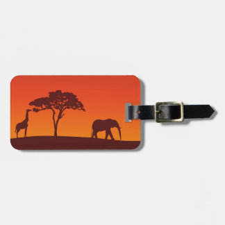 Afrikanische Safari-Silhouette - Gepäck-Umbau Gepäckanhänger