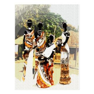 Afrikanische Stammes- Dorf-Frauen Postkarte