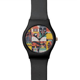 Afrikanische symbolische Kunst-Collage Uhr
