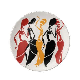 Afrikanische Tanzen-Damen Teller