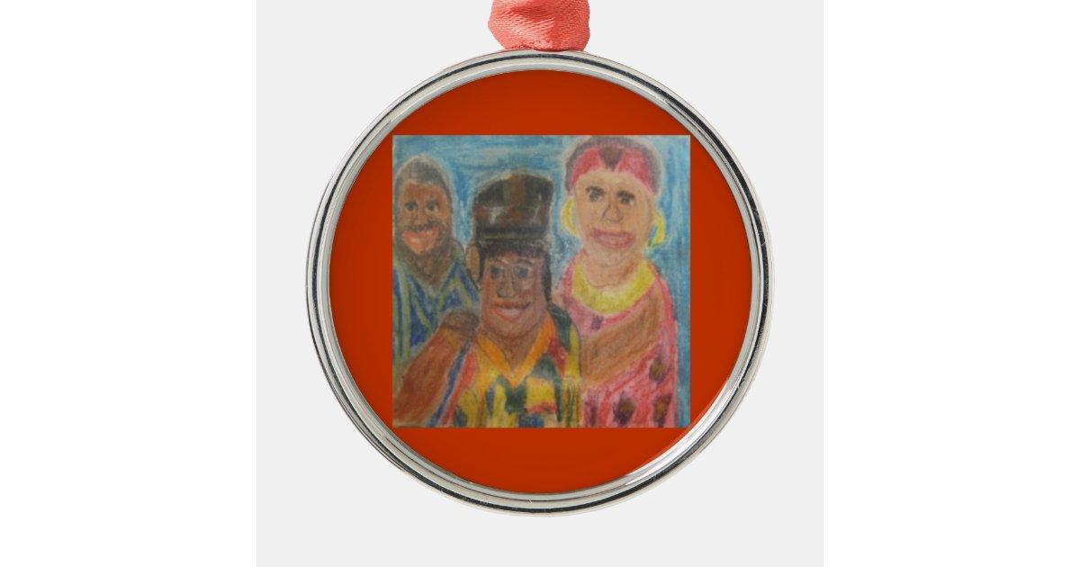 Afrikanische tradition rundes silberfarbenes ornament zazzle for Afrikanische weihnachtsdeko
