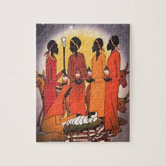 Afrikanische WeihnachtsGeburt Christis-Szene Puzzle