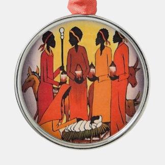 Afrikanische WeihnachtsGeburt Christis-Szene Silbernes Ornament
