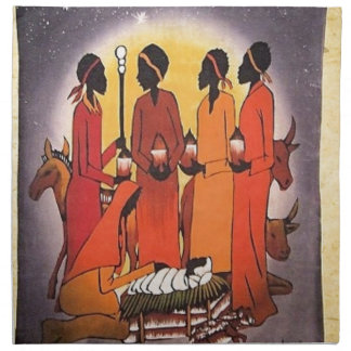 Afrikanische WeihnachtsGeburt Christis-Szene Stoffserviette
