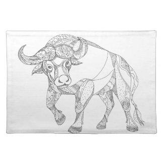 Afrikanischer Büffel-aufladengekritzel Tischset