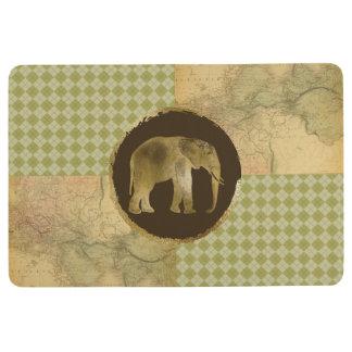 Afrikanischer Elefant auf Karte und Raute Bodenmatte