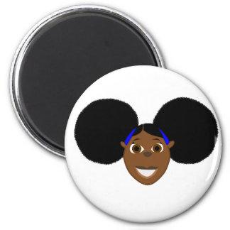 Afrikanischer Mädchen-Cartoon-Charakter Fino! Runder Magnet 5,7 Cm