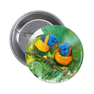 Afrikanischer Papageienknopf Runder Button 5,1 Cm