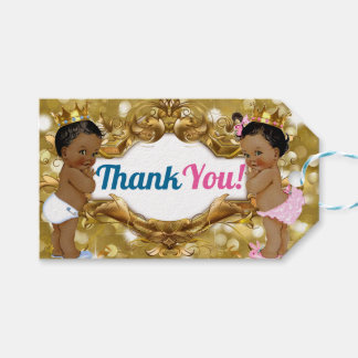 Afrikanischer Prinz/Prinzessin Glitter Thank You Geschenkanhänger