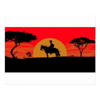 Afrikanischer somalischer Sonnenuntergang-Krieger Postkarte