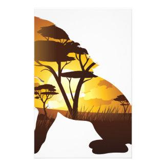 Afrikanischer Sonnenuntergang mit Löwe Briefpapier