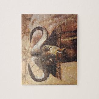 Afrikanisches Büffel-Puzzlespiel Puzzle