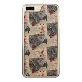 Afrikanisches Grau-Liebe-Buchstaben Carved iPhone 8 Plus/7 Plus Hülle