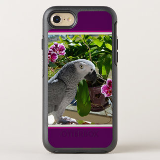 Afrikanisches Grau-Papagei mit Orchideen OtterBox Symmetry iPhone 8/7 Hülle