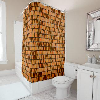 Afrikanisches inspiriertes orange Domino-Muster Duschvorhang