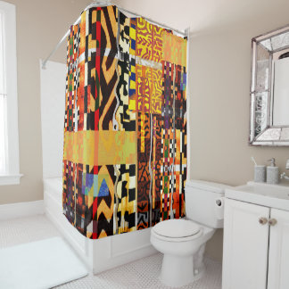 Afrikanisches Patchwork Duschvorhang