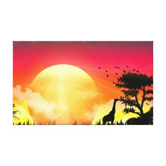 Afrikanisches Sonnenuntergang-Segeltuch Leinwanddruck