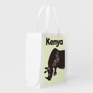 Afrikanisches Vintages Plakat KeniaRhino Wiederverwendbare Einkaufstasche