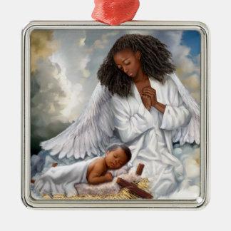 Afro-Engel und Baby-Jesus-Weihnachtsverzierungen Silbernes Ornament