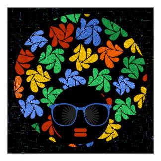 Afro-Liebe-buntes Wandabziehbild Poster