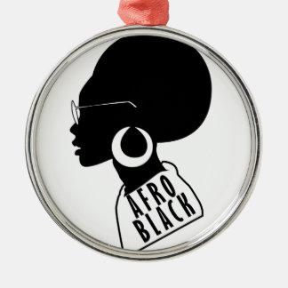 AFROAfroamerikaner-Schwarzgeschenkt-shirt Silbernes Ornament
