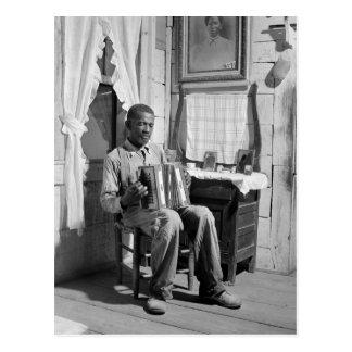 Afroamerikaner-Akkordeon Player, 1941 Postkarte