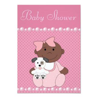 Afroamerikaner-Baby-u. Welpen-Babyparty 12,7 X 17,8 Cm Einladungskarte