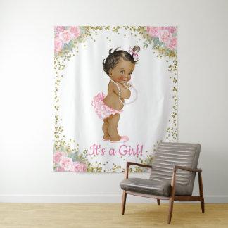 Afroamerikaner-ethnischer Baby-Duschen-Hintergrund Wandteppich