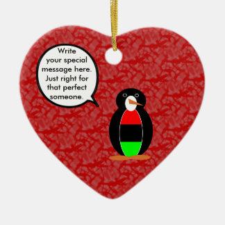 Afroamerikaner-Feiertags-Herr Penguin Keramik Ornament