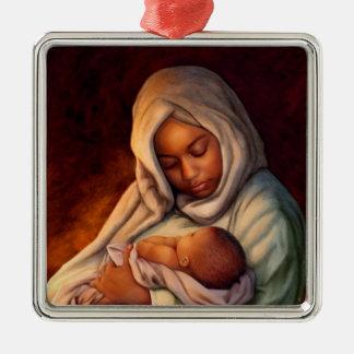 Afroamerikaner-Geburt Quadratisches Silberfarbenes Ornament