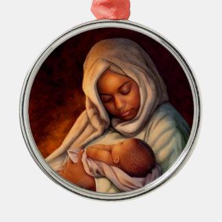 Afroamerikaner-Geburt Rundes Silberfarbenes Ornament