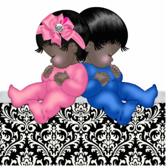 Afroamerikaner-Geschlecht decken Babyparty auf Freistehende Fotoskulptur