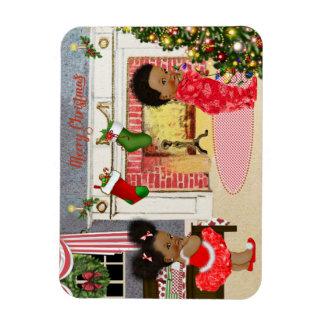 Afroamerikaner-Kinderweihnachtsmagnet Magnet