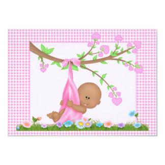 Afroamerikaner-Mädchen-Babyparty-Einladung 12,7 X 17,8 Cm Einladungskarte