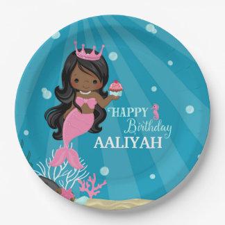 Afroamerikaner-Meerjungfrau-Geburtstag Pappteller