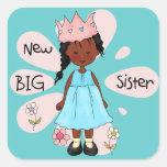 Afroamerikaner Prinzessin-große Schwester Quadratsticker
