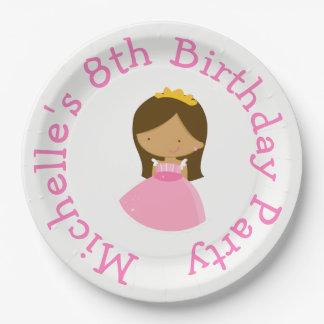 Afroamerikaner-Prinzessin-und Drache-Geburtstag Pappteller