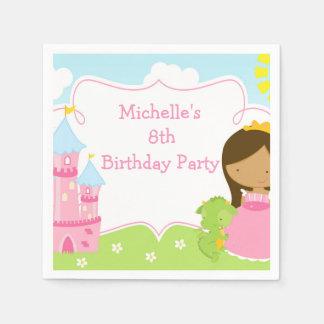 Afroamerikaner-Prinzessin-und Drache-Geburtstag Servietten