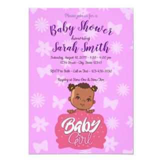 Afroamerikaner-rosa Mädchen-Babyparty Karte