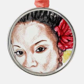 Afroamerikaner-Schönheit Silbernes Ornament