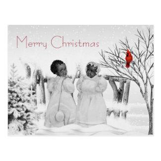 Afroamerikaner-Weihnachtskarte Postkarte