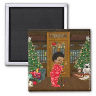 Afroamerikaner-Weihnachtsmagnet Quadratischer Magnet