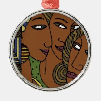 Afroamerikanerfrauen-Schwesterfreunde Silbernes Ornament