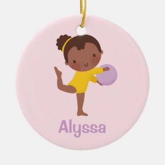 Afroamerikanergymnast-Mädchen-Gymnastik-Verzierung Keramik Ornament