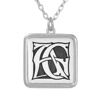 AG-Monogramm - Initialen AG in den gotischen Halskette Mit Quadratischem Anhänger
