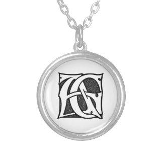 AG-Monogramm - Initialen AG in den gotischen Halskette Mit Rundem Anhänger